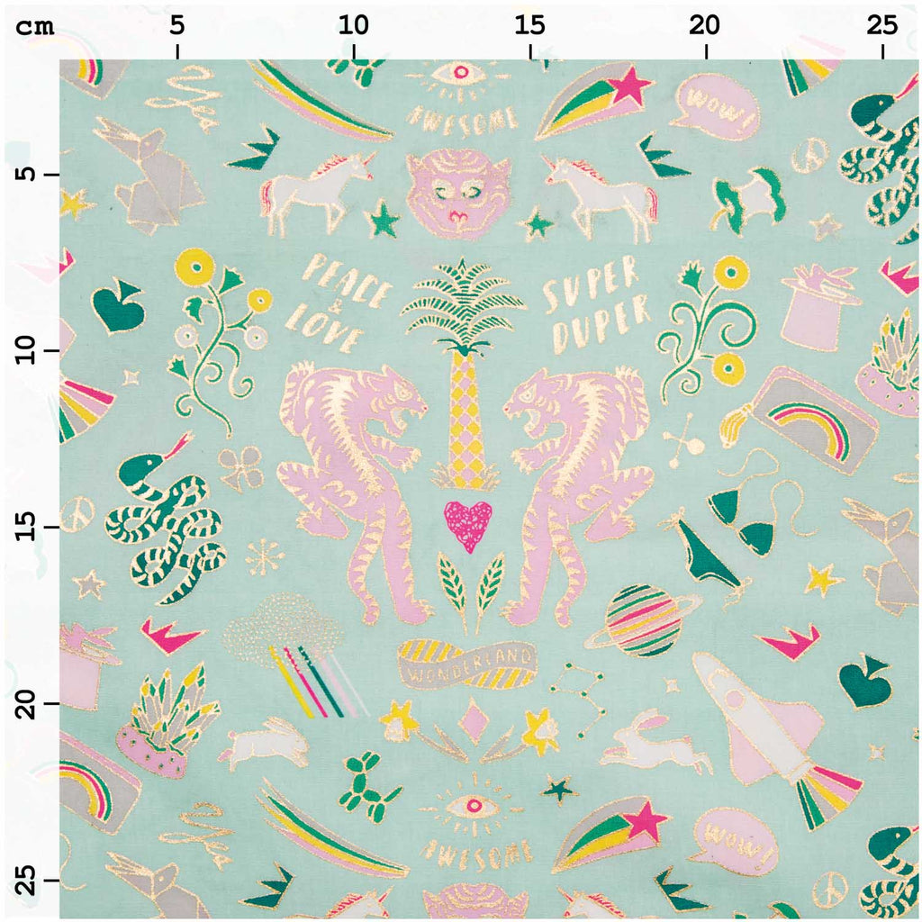 Mint Wonderland Hot Foil Oilcloth Fabric 25cm x 70cm