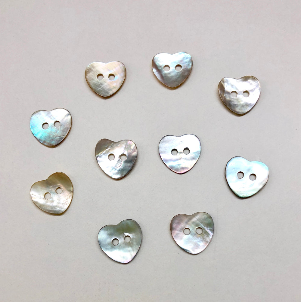 Mother of Pearl Heart Buttons 15mm x 10