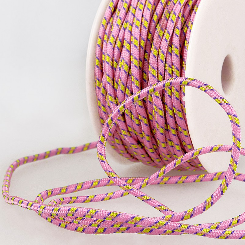 Multicoloured Cord 3mm pale pink 74