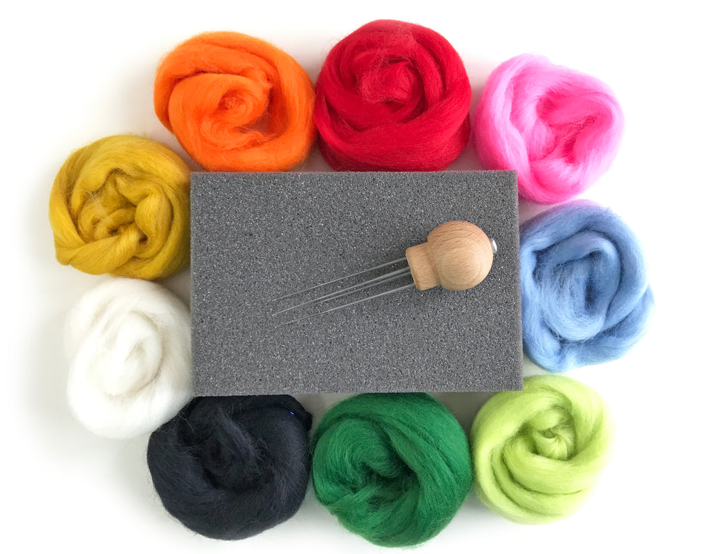 Needle Felting Starter Kit - with wool & instructions
