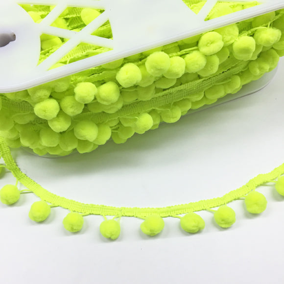 Pompom Trim 25mm Neon Green
