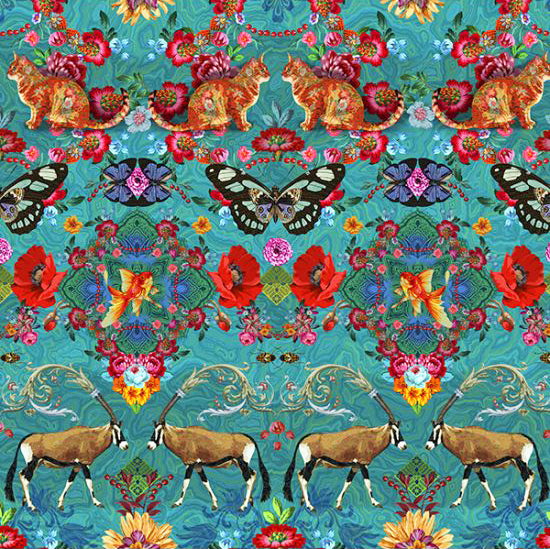Cotton Fabric Fat Quarter : Odile Bailloeul Singapore Turquoise
