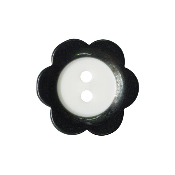 Fade Flower button 15mm 00 Black