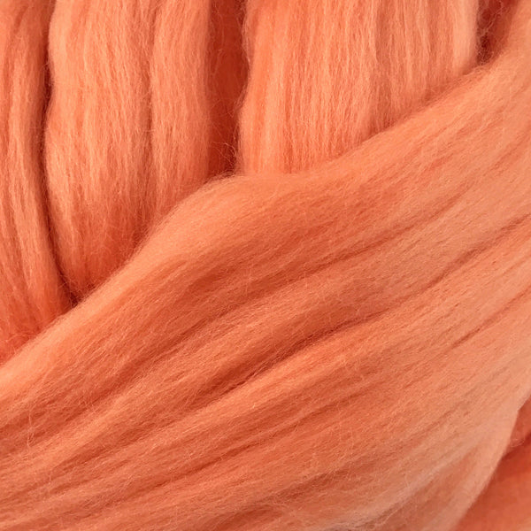 Peach Merino wool tops for felting & giant knitting