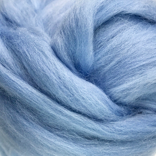 100g Pale Blue Merino wool tops for felting & giant knitting