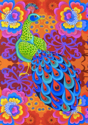 Peacock with Flowers Greetings Card by Jane Tattersfield