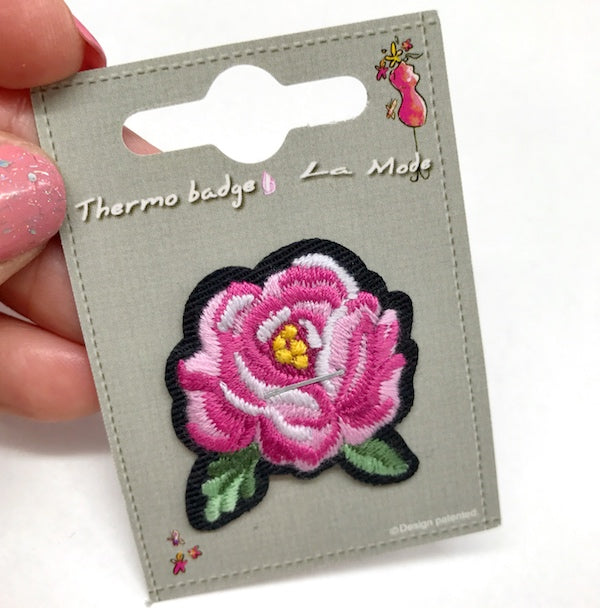 Pink Rose Iron On Motif