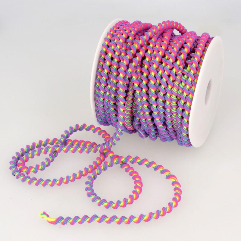 Psychadelic Elastic Curly Trim 100 Multi 6mm