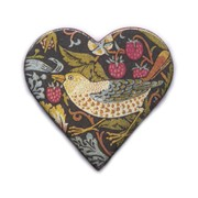 Handmade Ceramic Brooch : Heritage Heart with Bird