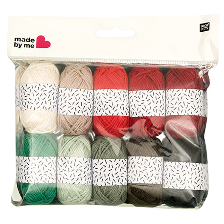 Mini Cotton DK Yarn Pack 10 x 10g balls Xmas