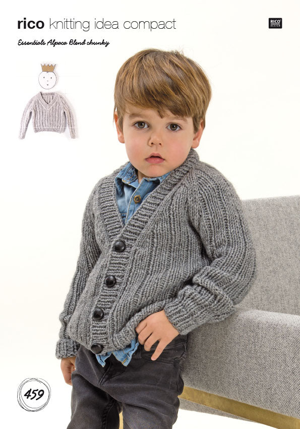Rico Alpaca Blend Chunky Knitting Pattern 459 boys sweaters