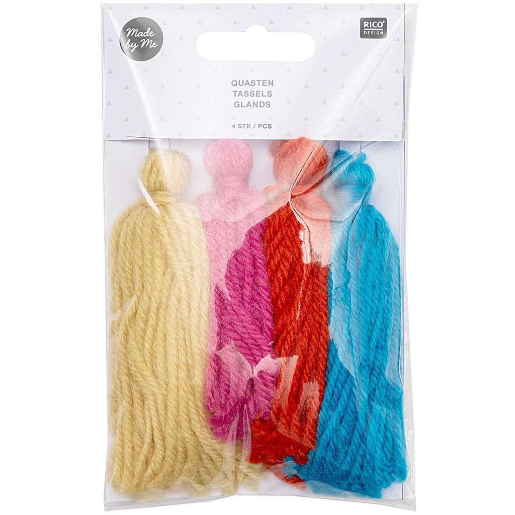 Tassels 4 pack Rainbow Colours 9cm long