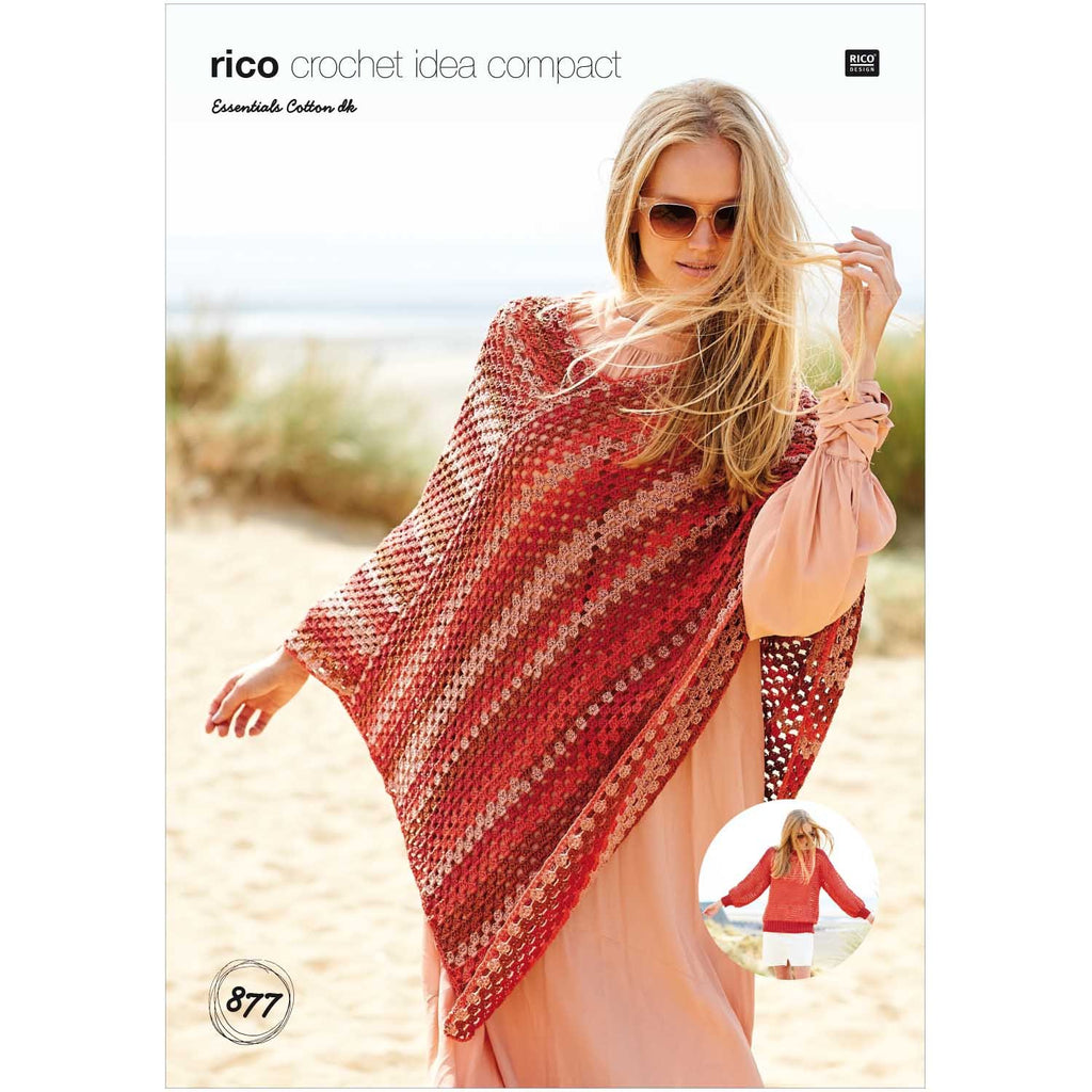 Rico Essentials Cotton Pattern Crocheted Poncho & Jumper 877