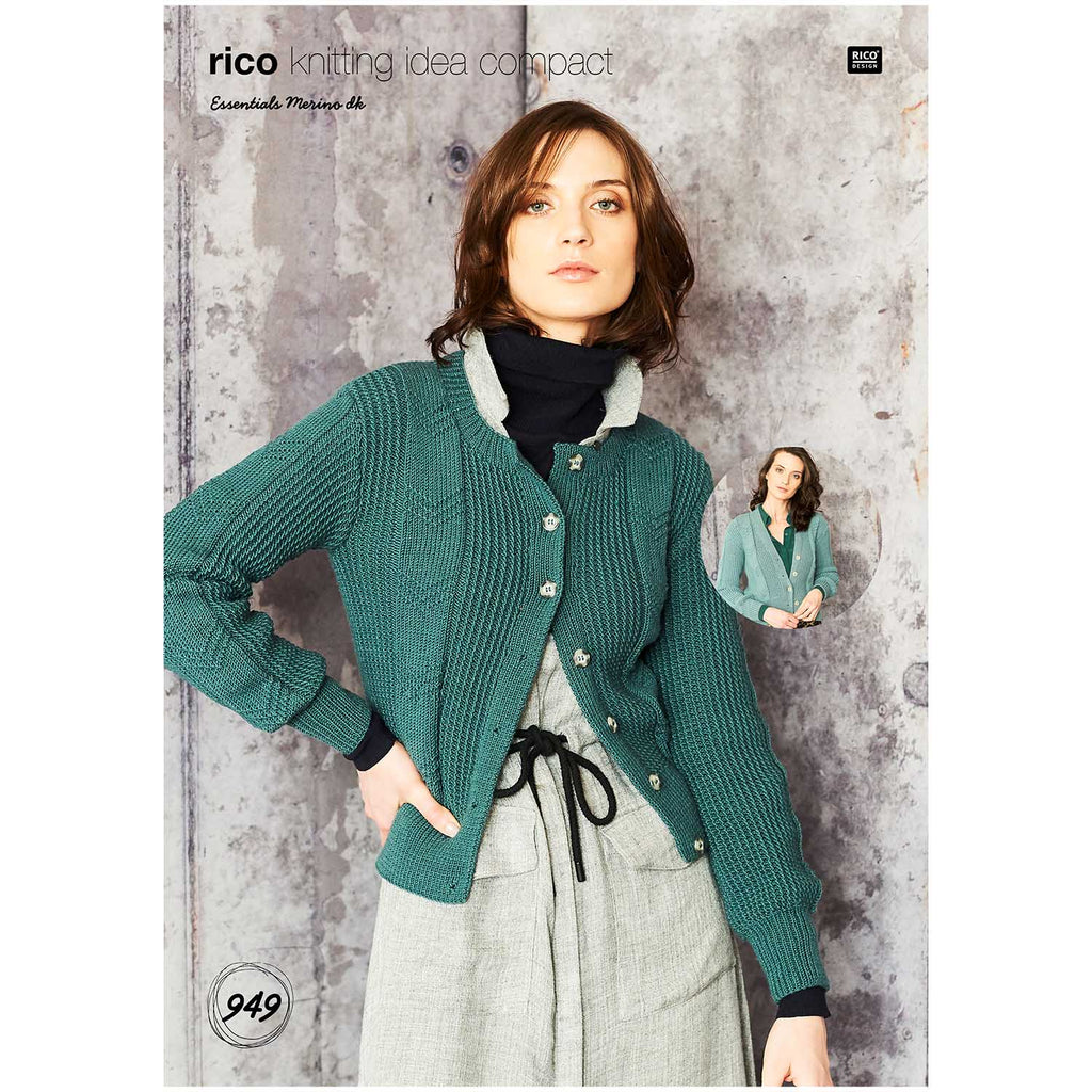 Rico Essentials Merino Cardigan Knitting Pattern 949