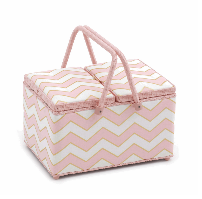 Sewing Box: (L): Twin Lid : Chevron: Pearlised Blush