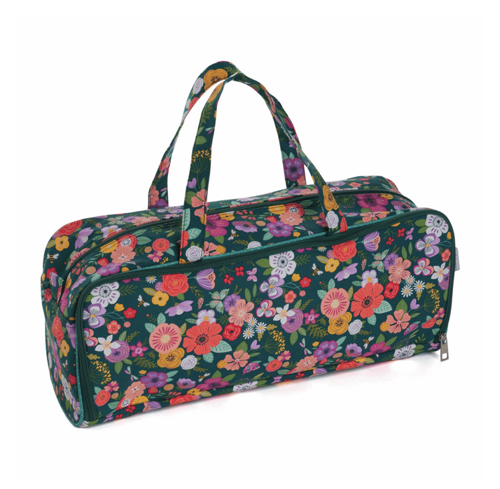 Knitting Bag with Pin Case: Floral Garden: Teal