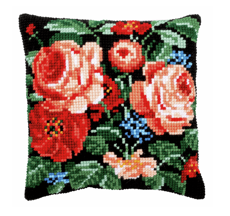 Cross Stitch Kit: Cushion: Roses
