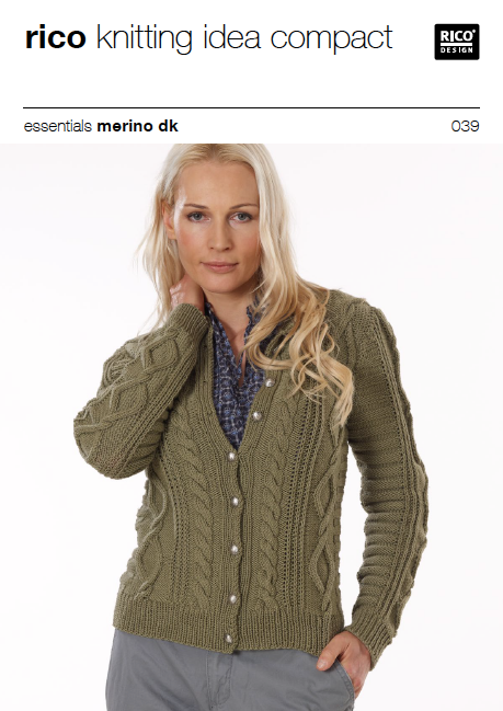 Cabled Womens Knitted Cardigan Pattern 039
