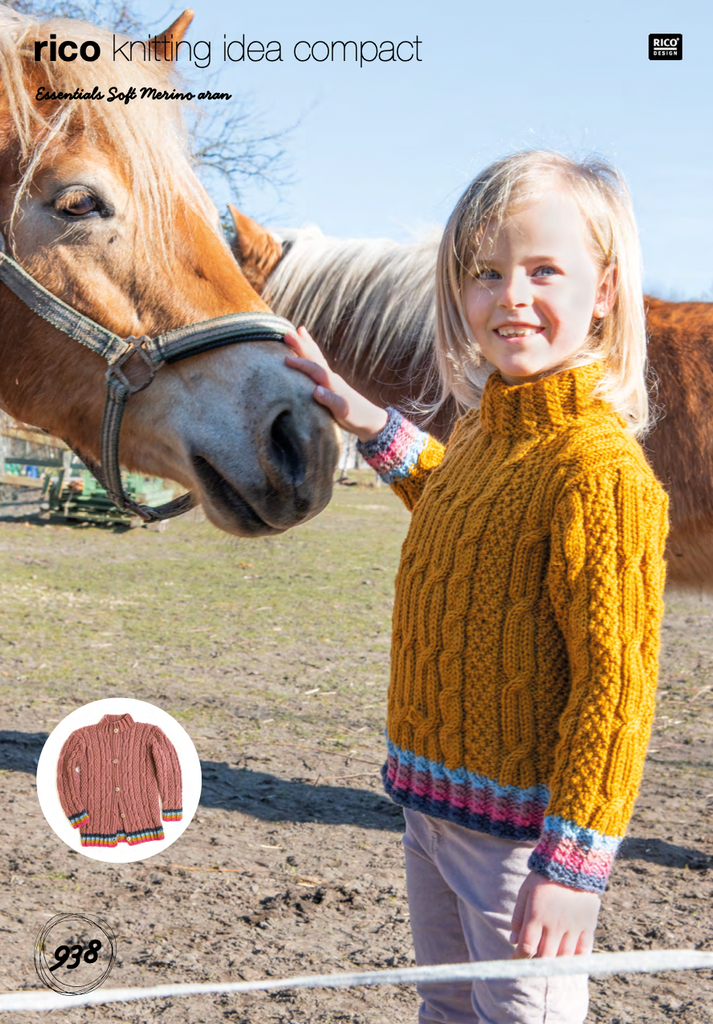 Kids Aran Cable Knit Jumper Knitting Pattern 938
