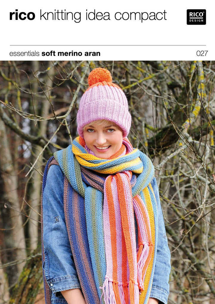 Women's or Child's Aran Hat and Scarf Knitting Pattern 027