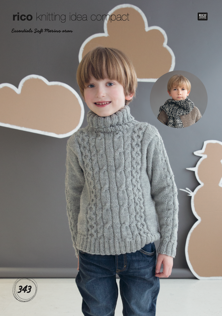 Kids Age 6-10 years Aran Cable Jumper Knitting Pattern 343