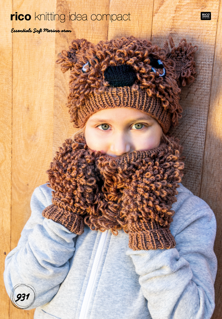 Kid's Aran Animal Head Hat and Gloves Knitting Pattern 931
