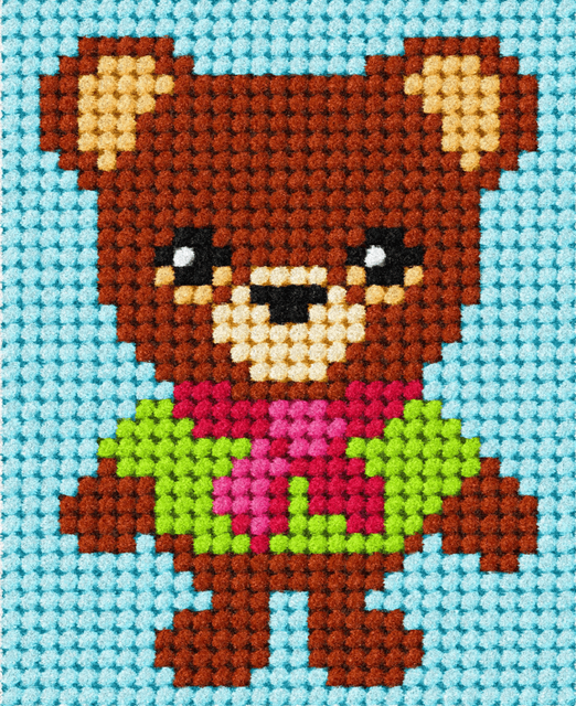 Children's Embroidery Tapestry Kit: My First Bear