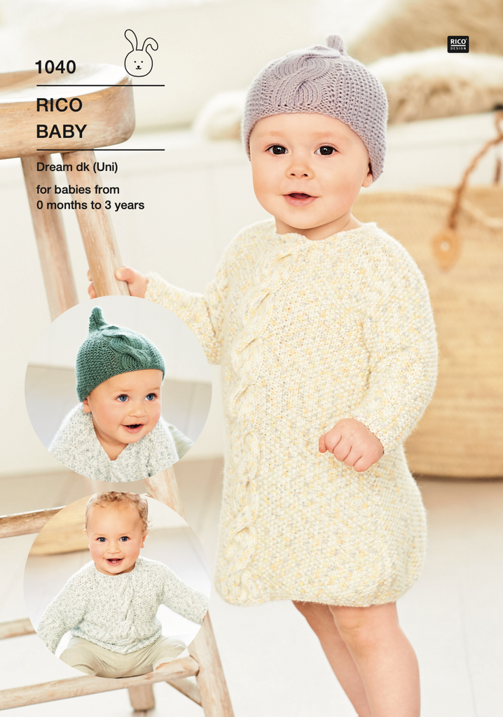 Baby Dream Uni Pattern 1040 Sweater, dress & hat