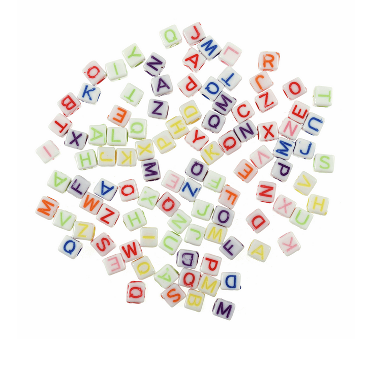 Alphabet Letter Beads Sqaure : Assorted Colours