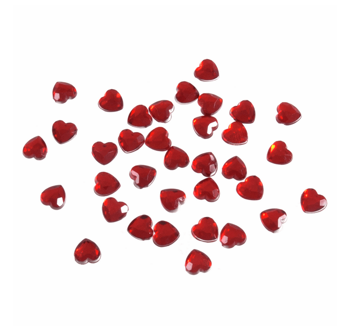 Acrylic Stones: Glue-On: Heart: 6mm: Red