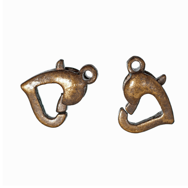 Trigger Clasp: Heart: Antique: Pack of 2.