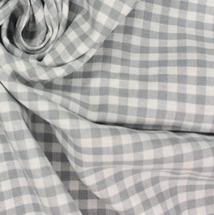 Gingham 100% Cotton Fabric - by the metre : Grey & White