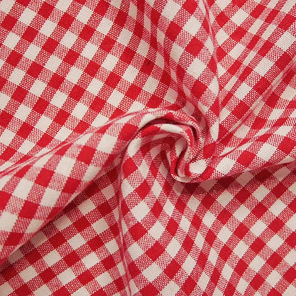 Gingham 100% Cotton Fabric - by the metre : Red & White