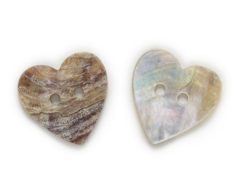 Mother of Pearl Heart Buttons 15mm EACH