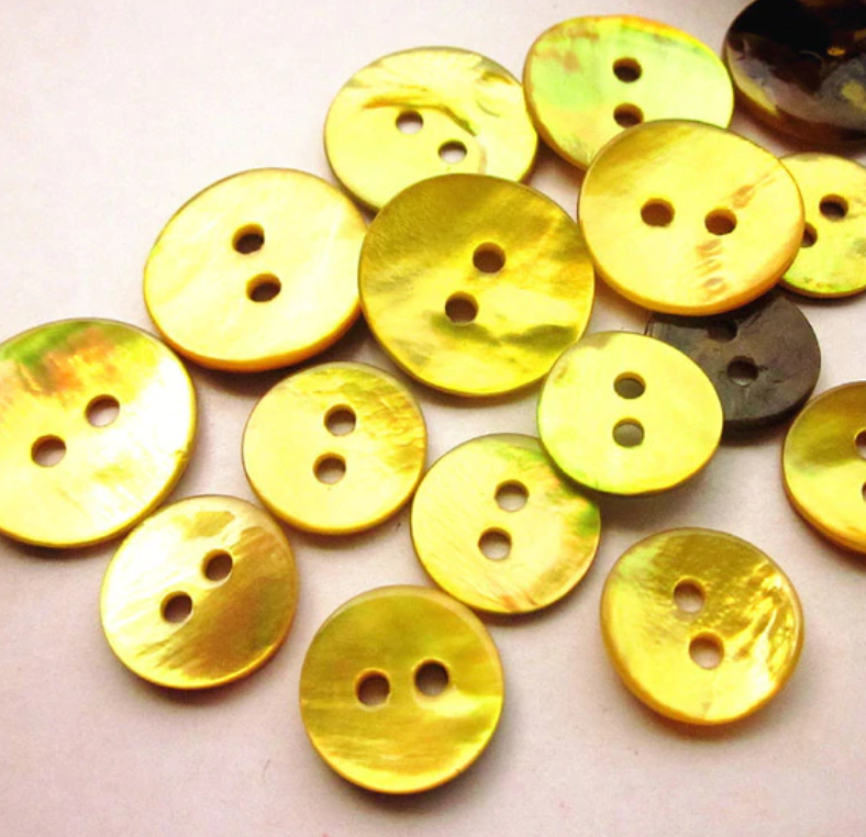 11mm Mother of pearl shell button Yellow per button