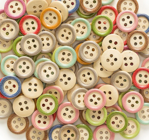 Multi-colour 4 Hole Round Mixed Wood Button 15mm