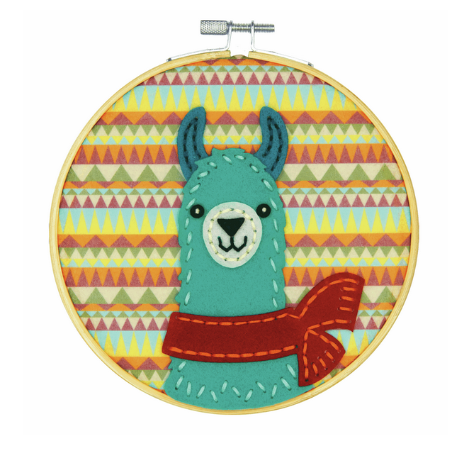 Felt Applique Kit with Hoop: Llama