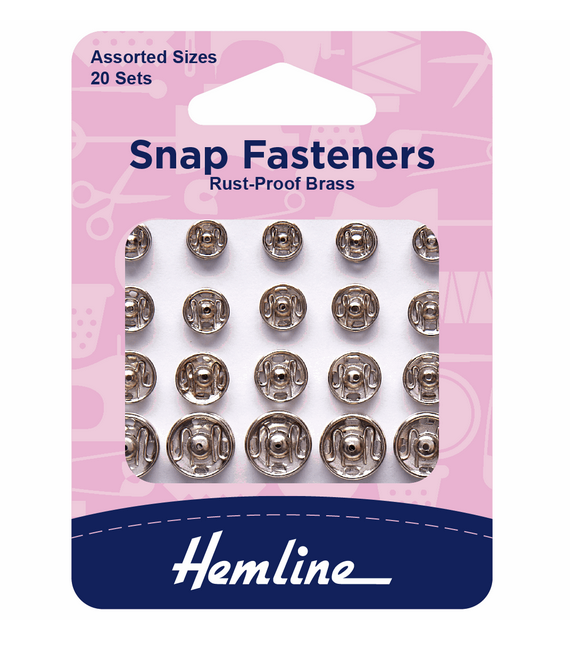Sew On Snap Fasteners: Assorted - Nickel