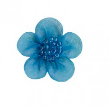 Copy of Beaded muslin small flowers x 10 : 026 Turquoise