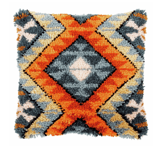 Latch Hook Kit: Boho Cushion: Ethnic Print