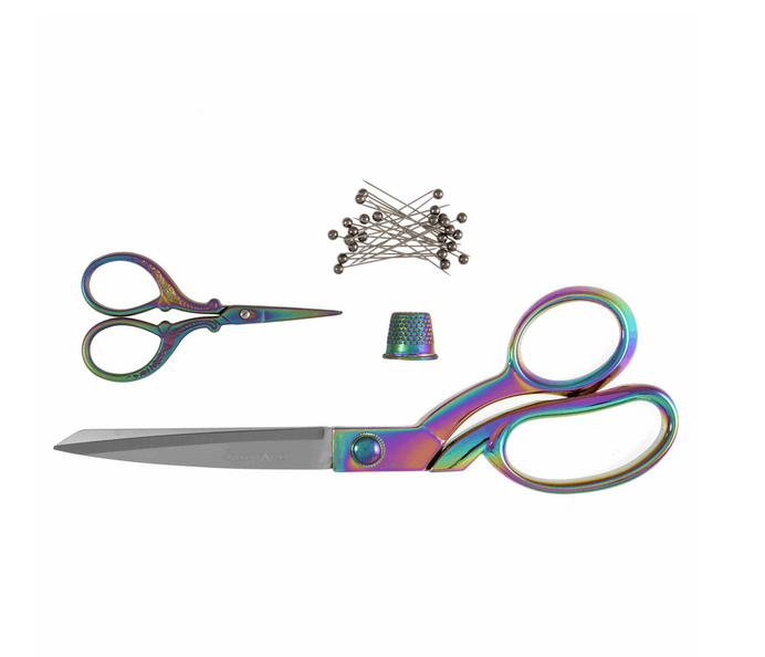 Rainbow 2 x Scissors Gift Set with Pins and Thimble