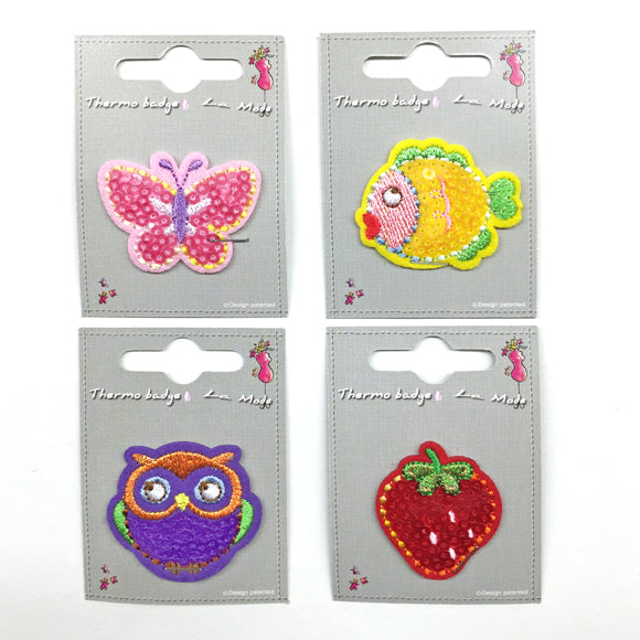 Sequinned  Iron On Motif Owl 08 Purple