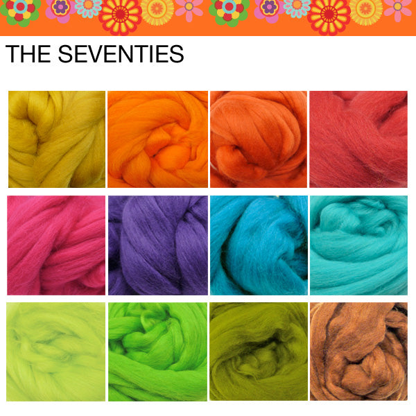 Wool tops Roving Bundle: 1200g SEVENTIES colours - save over 10%