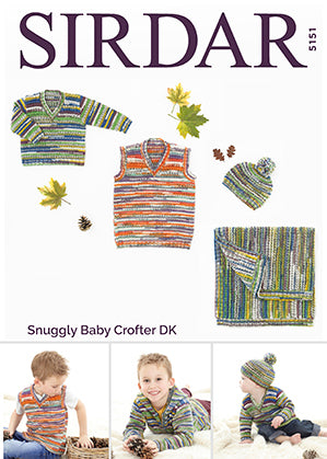 Sirdar Snuggly Baby Crofter boys sweaters and hat 5151
