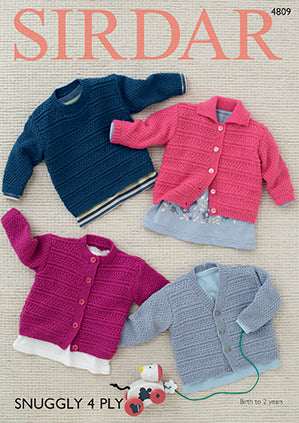 Sirdar Knitting Pattern Snuggly 4 ply 4809 Sweater & cardigan