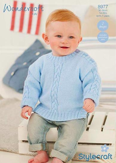 Stylecraft Pattern 8977 baby jumpers 4 ply