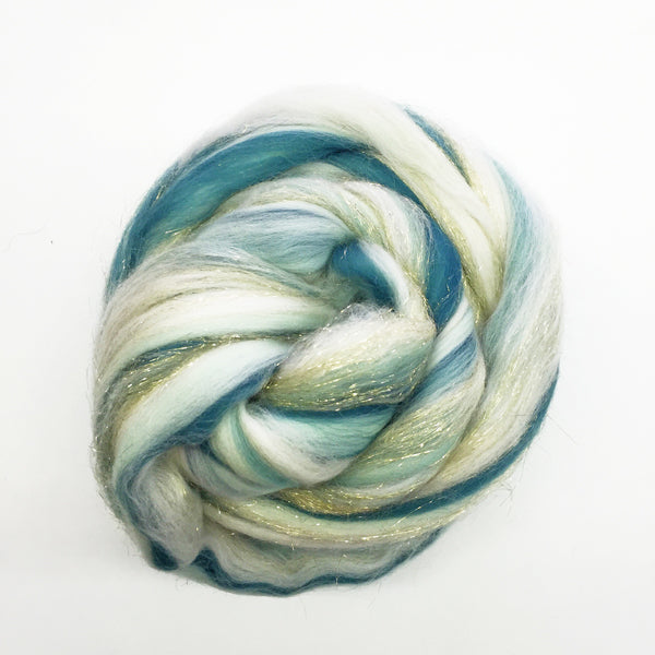Twinkly Teal Appeal House Blend Wooltops for Felting & Spinning