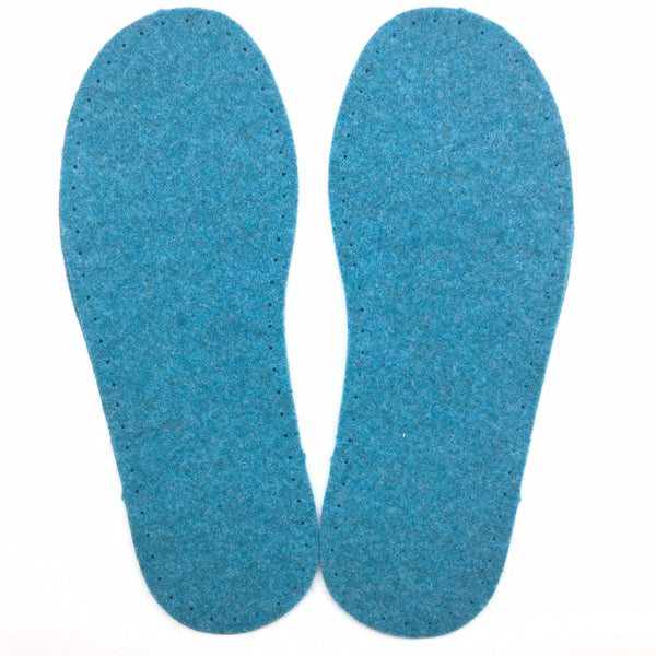 Turquoise Felt Slipper Soles Kids UK 6-7 (Eur 26-27)
