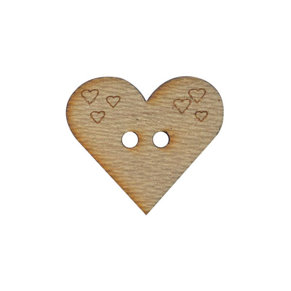 Wooden heart button 20mm
