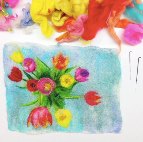 Wet Felting Pictures + Needle Felted Details Workshop 30/5/20